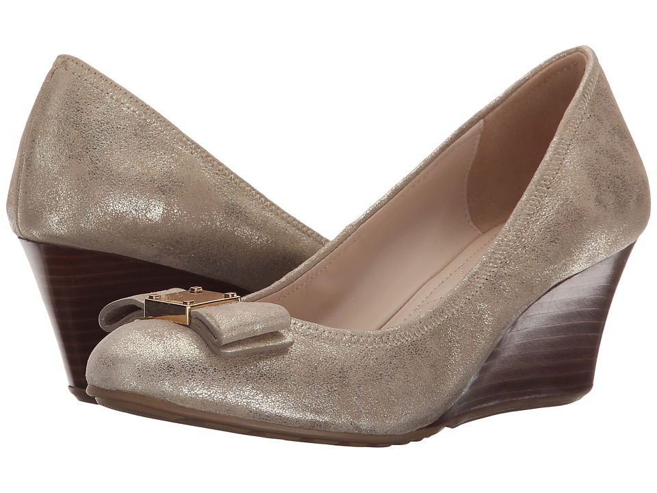 Cole Haan - Tali Grand Bow (Gold Metallic Suede) Women
