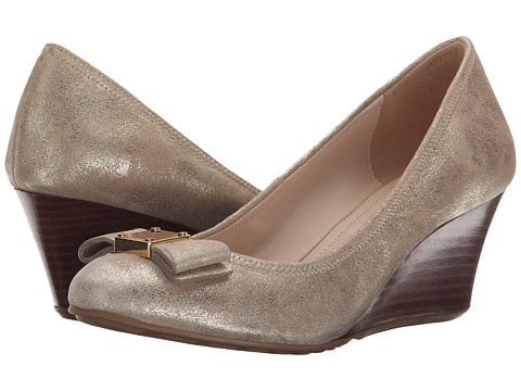Cole Haan - Tali Grand Bow (Gold Metallic Suede) Women's Shoes