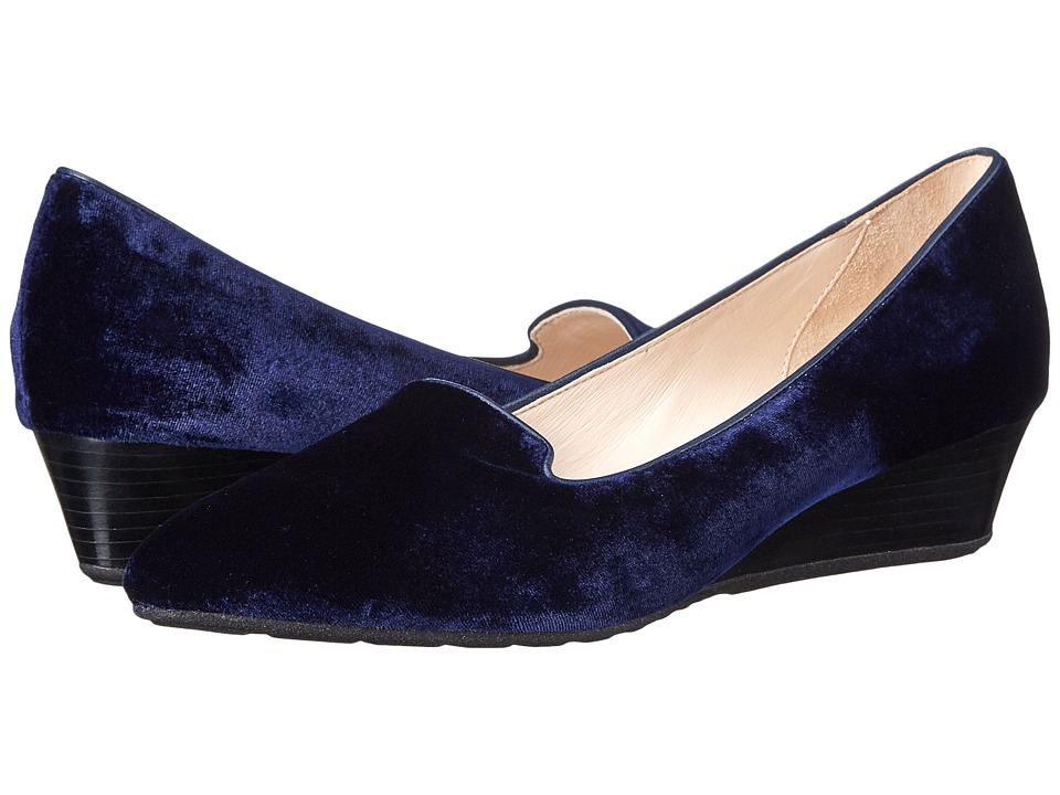 Cole Haan - Tali Luxe Smoking Slipper Wedge (Blazer Blue Velvet) Women