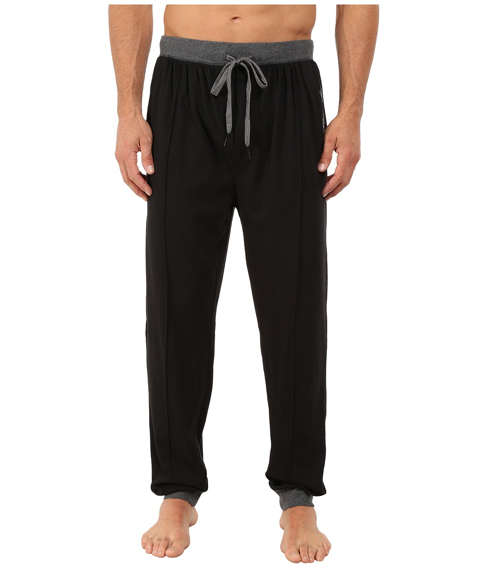 Kenneth Cole Reaction - Sueded Jersey Cuffed Pants (Black) Men's Underwear