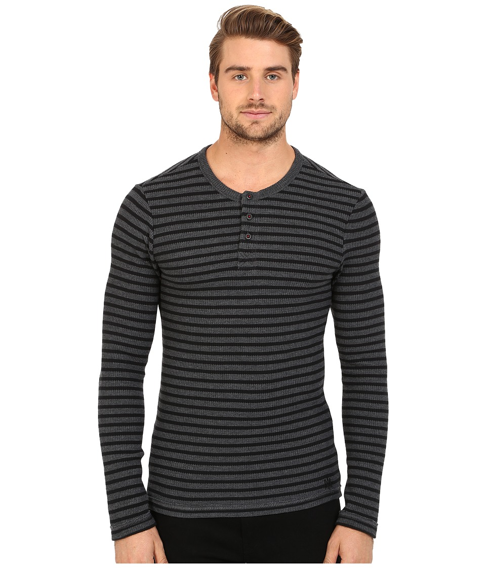 Mavi Jeans - Striped Long Sleeve T-Shirt (Dark Grey Melange) Men's T Shirt