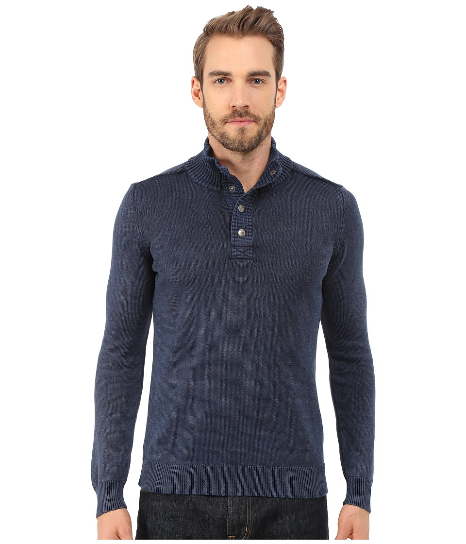 Mavi Jeans - Buttoned High Neck Sweater (Total Eclipse) Men's Sweater