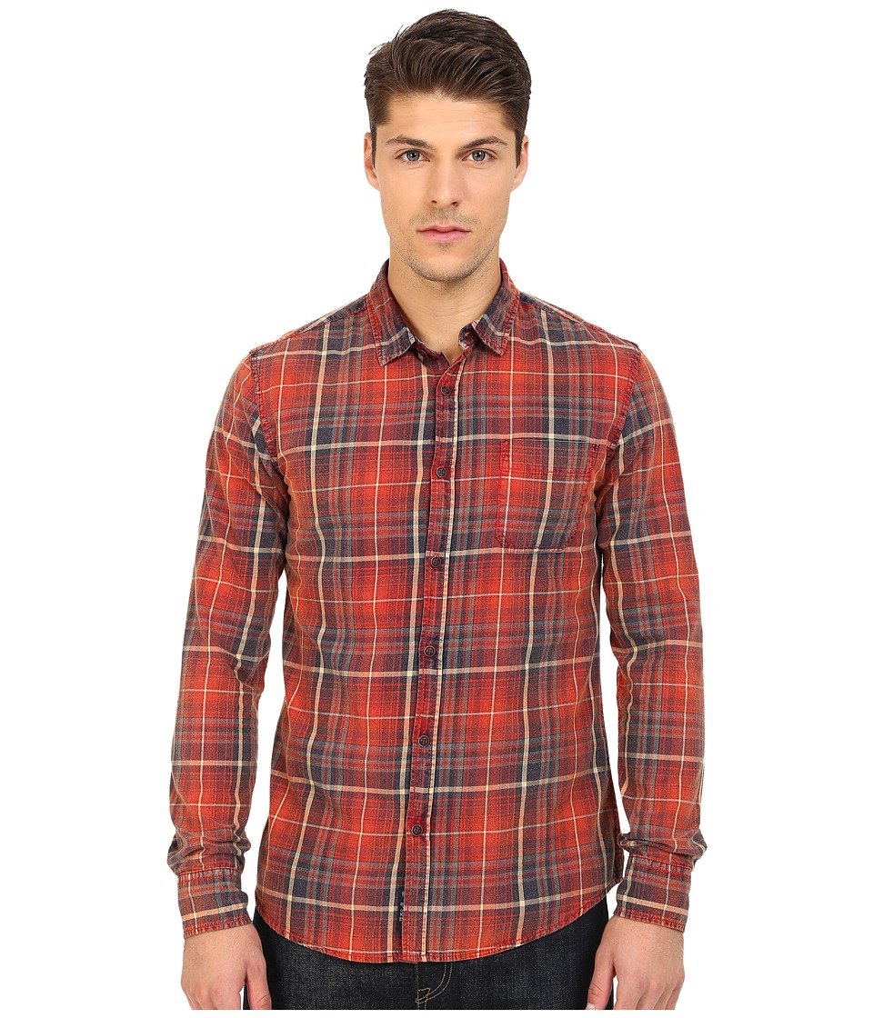 Mavi Jeans - Plaid Button Down (Burnt Red Checked) Men's Long Sleeve Button Up
