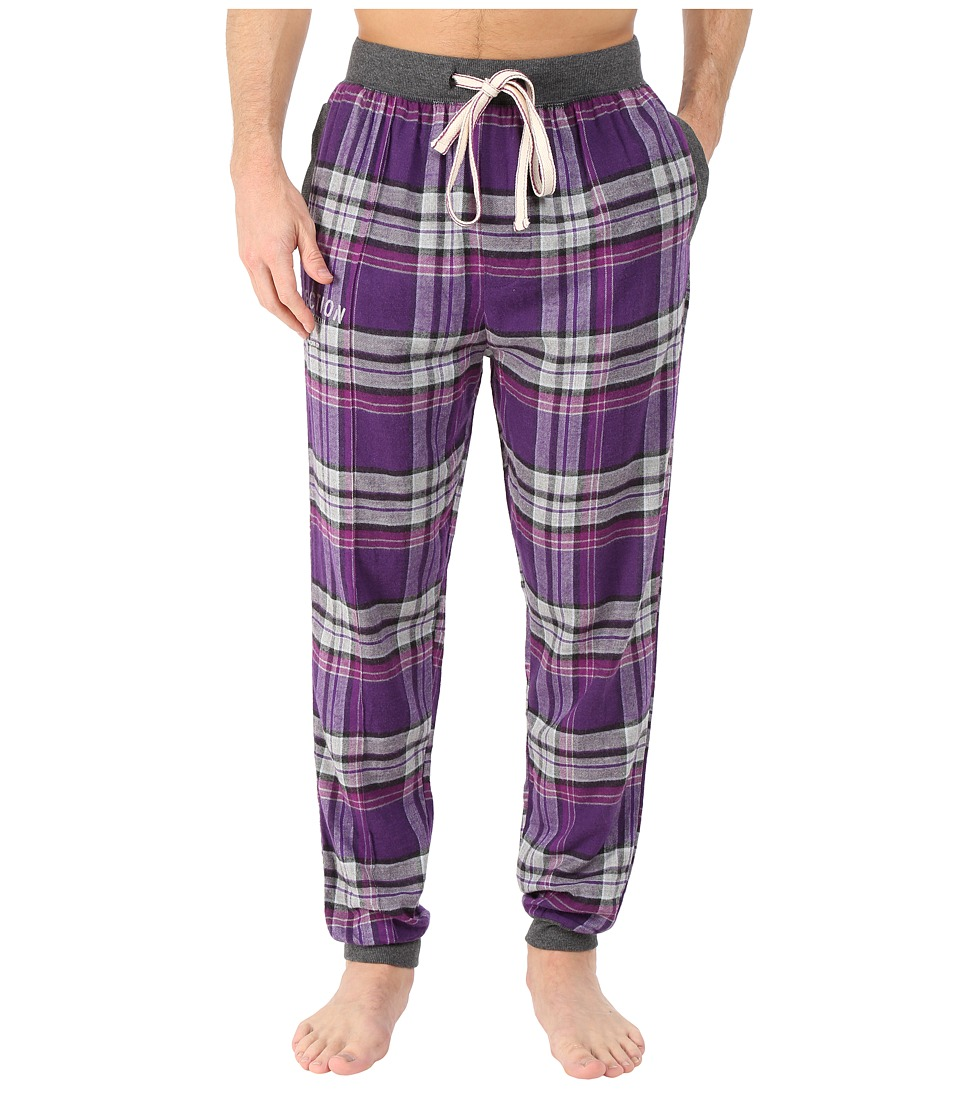 Kenneth Cole Reaction - Cuffed Flannel Pants (Purple Park Plaid) Men