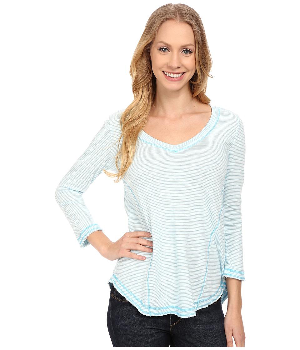 Mod-o-doc - Slub Mini Stripe Seamed V-Neck Tee (Blue) Women's T Shirt