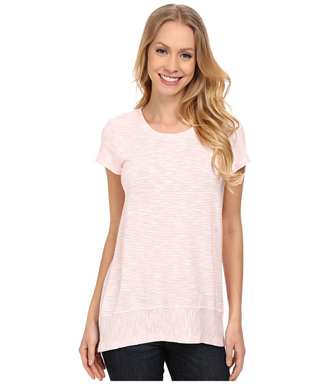 Mod-o-doc - Slub Mini Stripe Short Sleeve Scoop Neck Tee w/ Band (Coral) Women