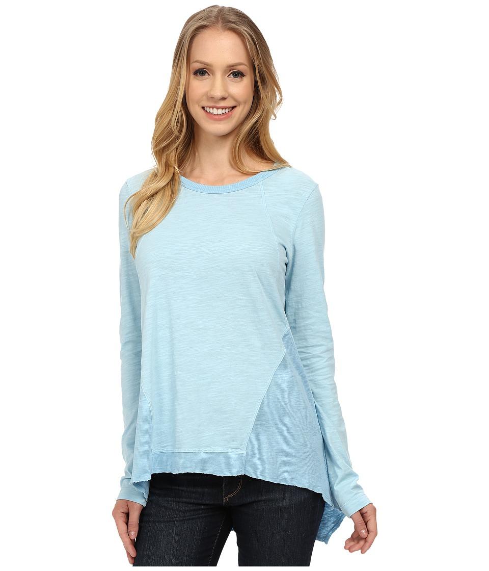 Mod-o-doc - Sueded Slub Jersey Seamed Tee w/ Contrast Rib (Blue Frost) Women's T Shirt
