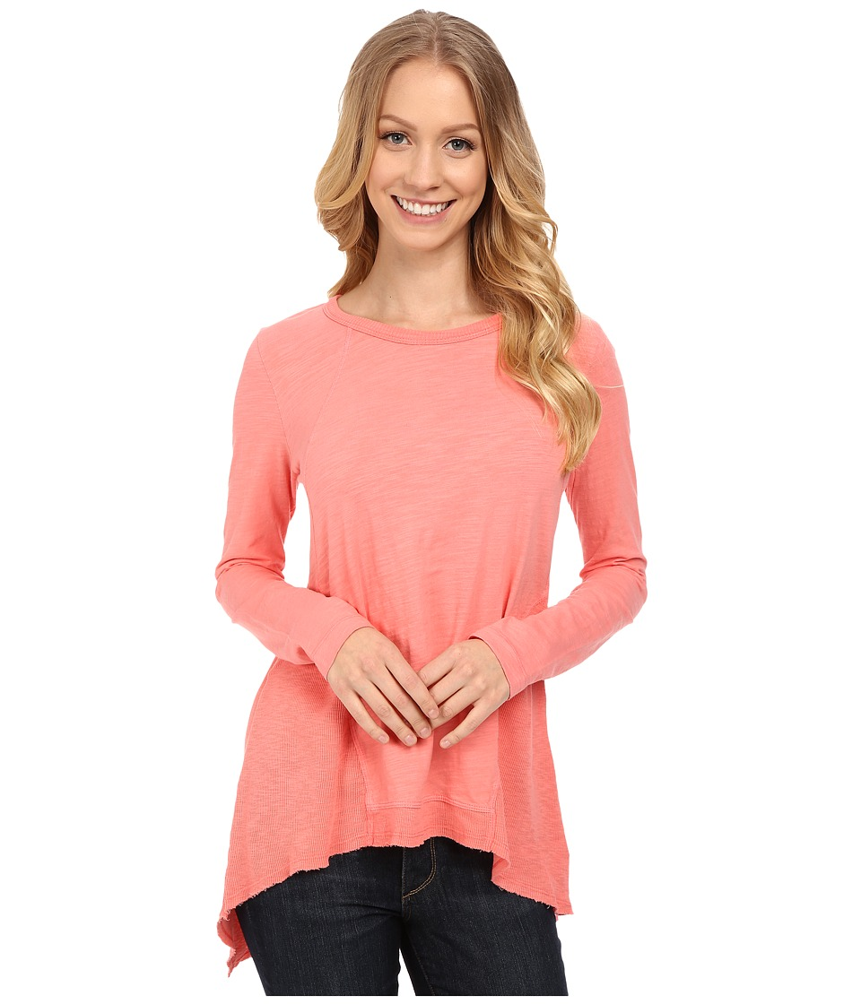 Mod-o-doc - Sueded Slub Jersey Seamed Tee w/ Contrast Rib (Cafe Coral) Women's T Shirt