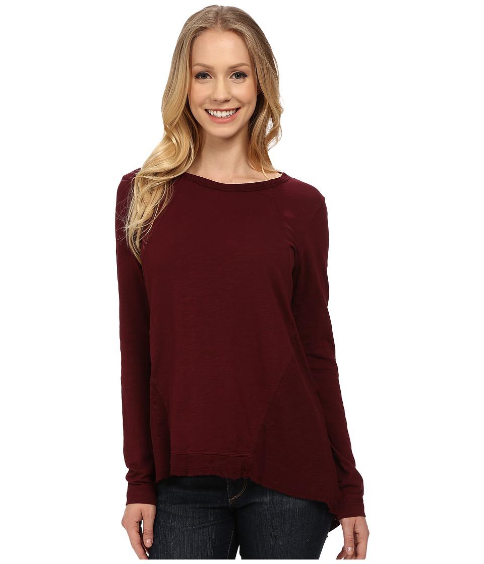 Mod-o-doc - Sueded Slub Jersey Seamed Tee w/ Contrast Rib (Burgundy Noir) Women's T Shirt