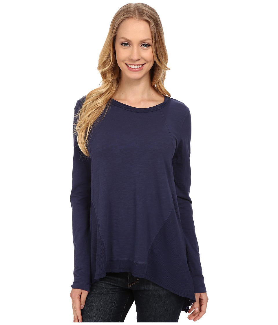 Mod-o-doc - Sueded Slub Jersey Seamed Tee w/ Contrast Rib (New Navy) Women's T Shirt