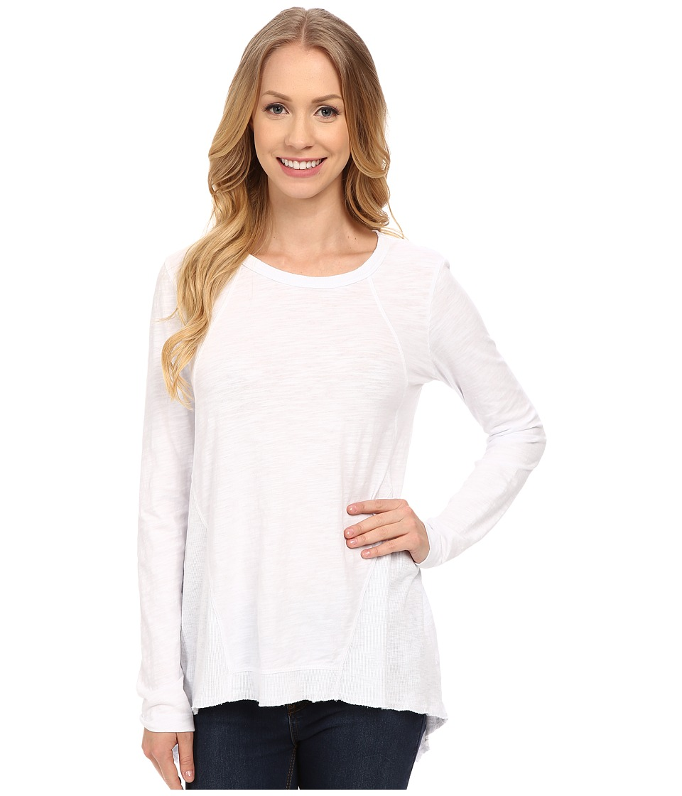 Mod-o-doc - Sueded Slub Jersey Seamed Tee w/ Contrast Rib (White) Women's T Shirt