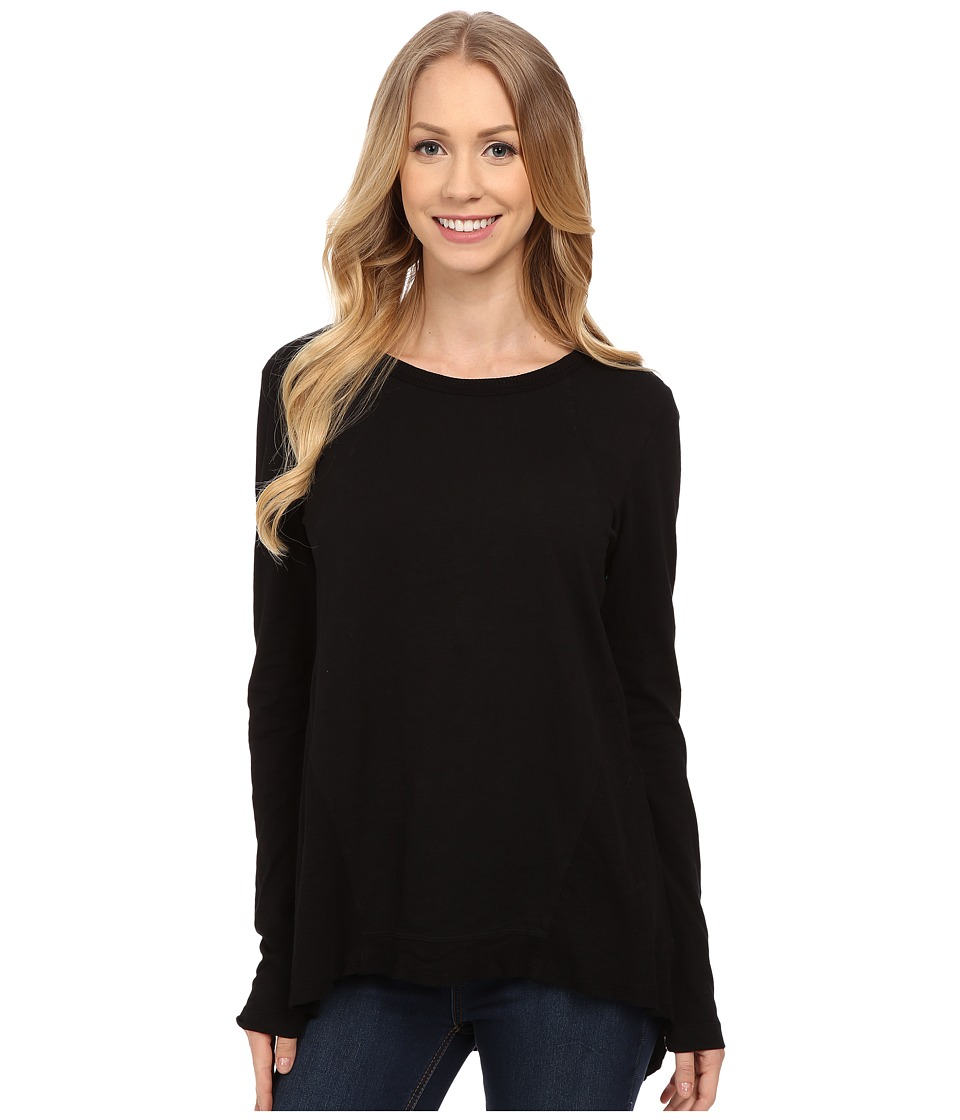 Mod-o-doc - Sueded Slub Jersey Seamed Tee w/ Contrast Rib (Black) Women's T Shirt