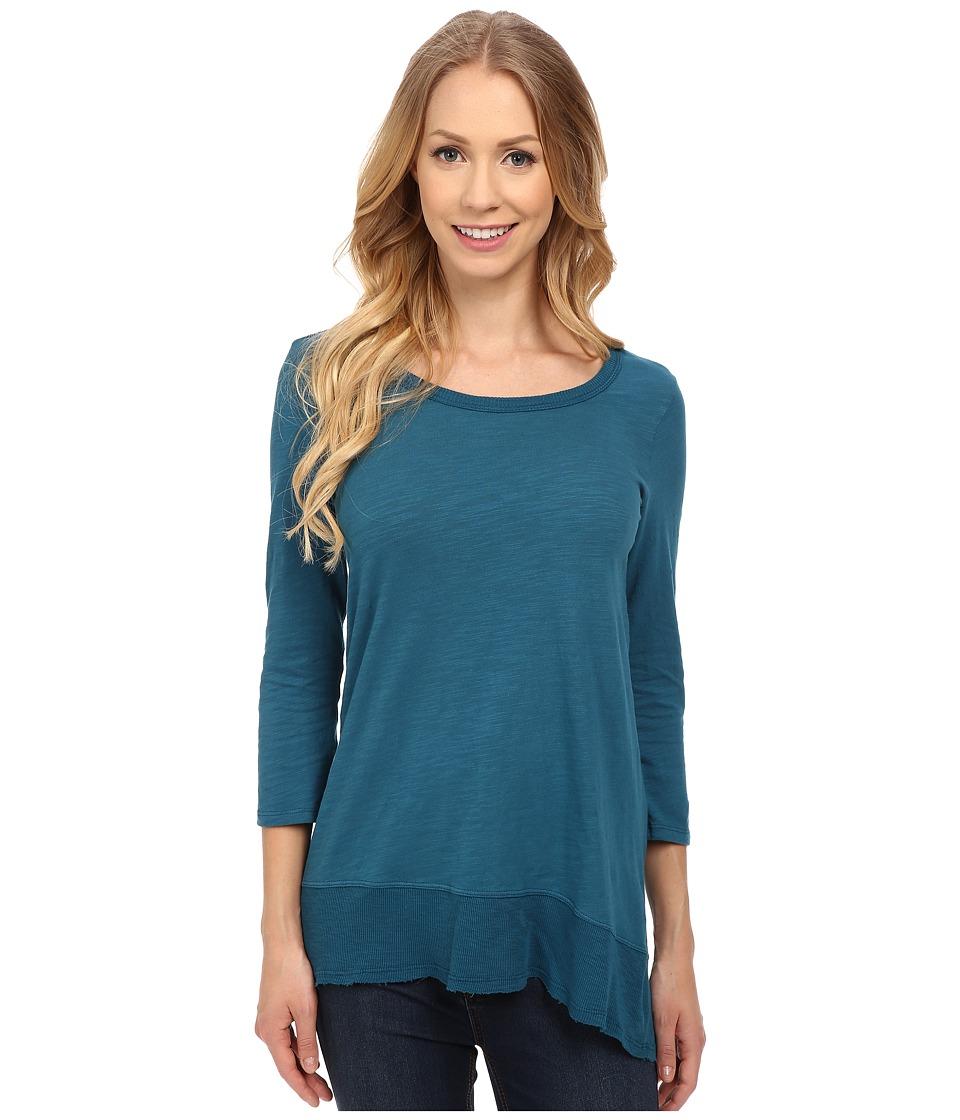 Mod-o-doc - Sueded Slub Jersey 3/4 Sleeve Hi-Low Rib Trim Tee (Baltic) Women's T Shirt