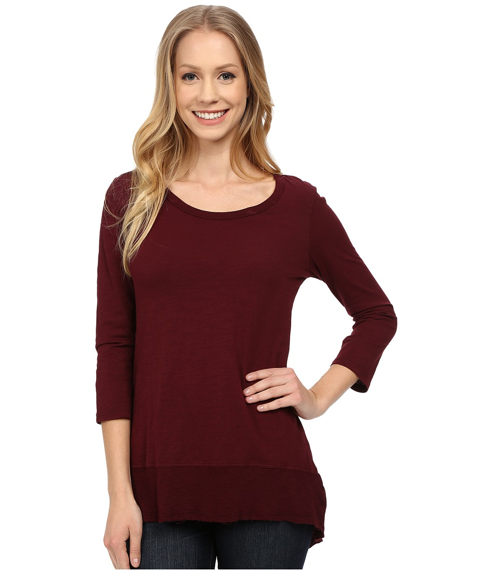 Mod-o-doc - Sueded Slub Jersey 3/4 Sleeve Hi-Low Rib Trim Tee (Burgundy Noir) Women's T Shirt