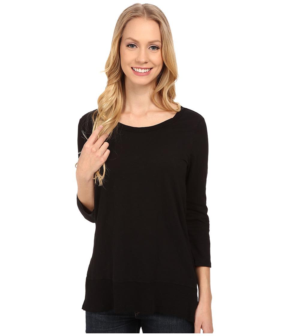 Mod-o-doc - Sueded Slub Jersey 3/4 Sleeve Hi-Low Rib Trim Tee (Black) Women's T Shirt