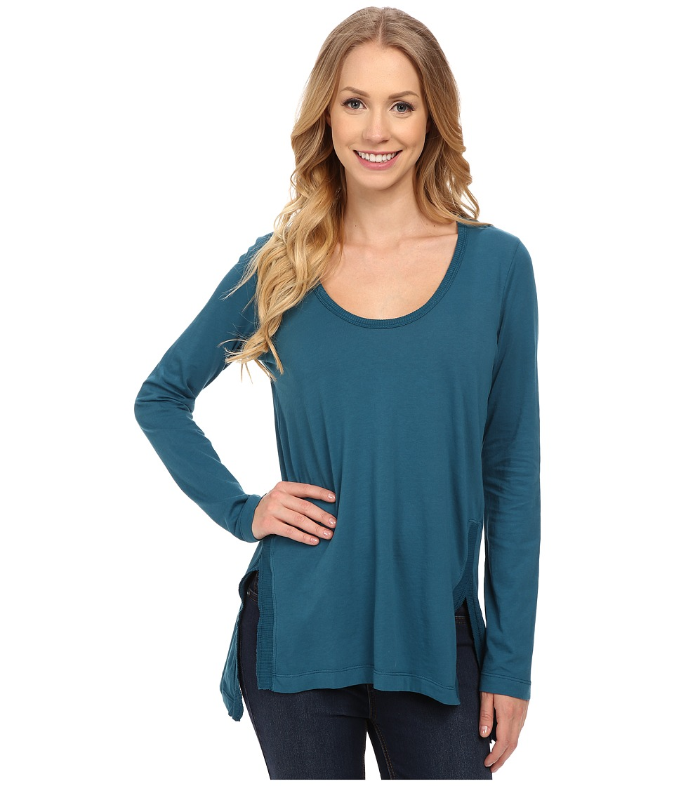 Mod-o-doc - Supreme Jersey Long Sleeve Scoop Neck Tee w/ Front Side Slits (Baltic) Women's T Shirt