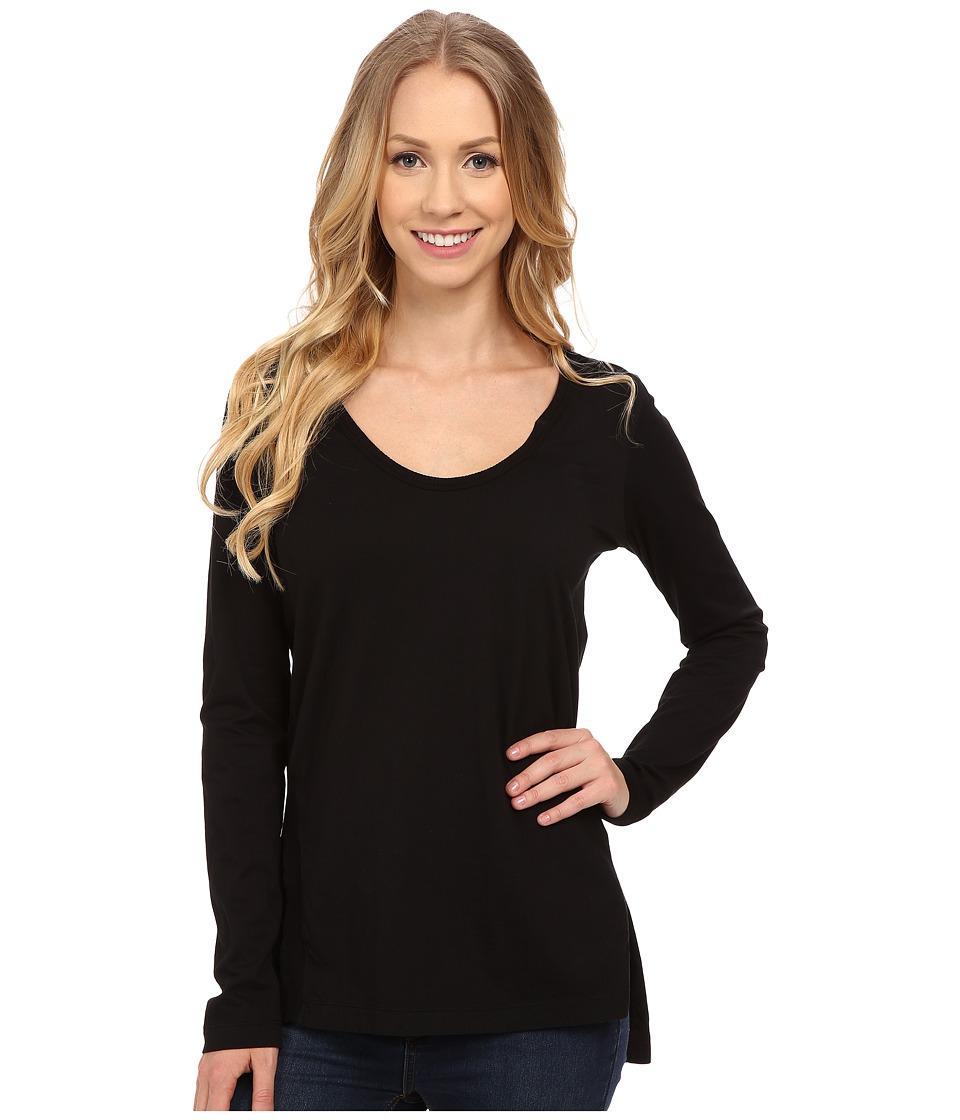 Mod-o-doc - Supreme Jersey Long Sleeve Scoop Neck Tee w/ Front Side Slits (Black) Women's T Shirt