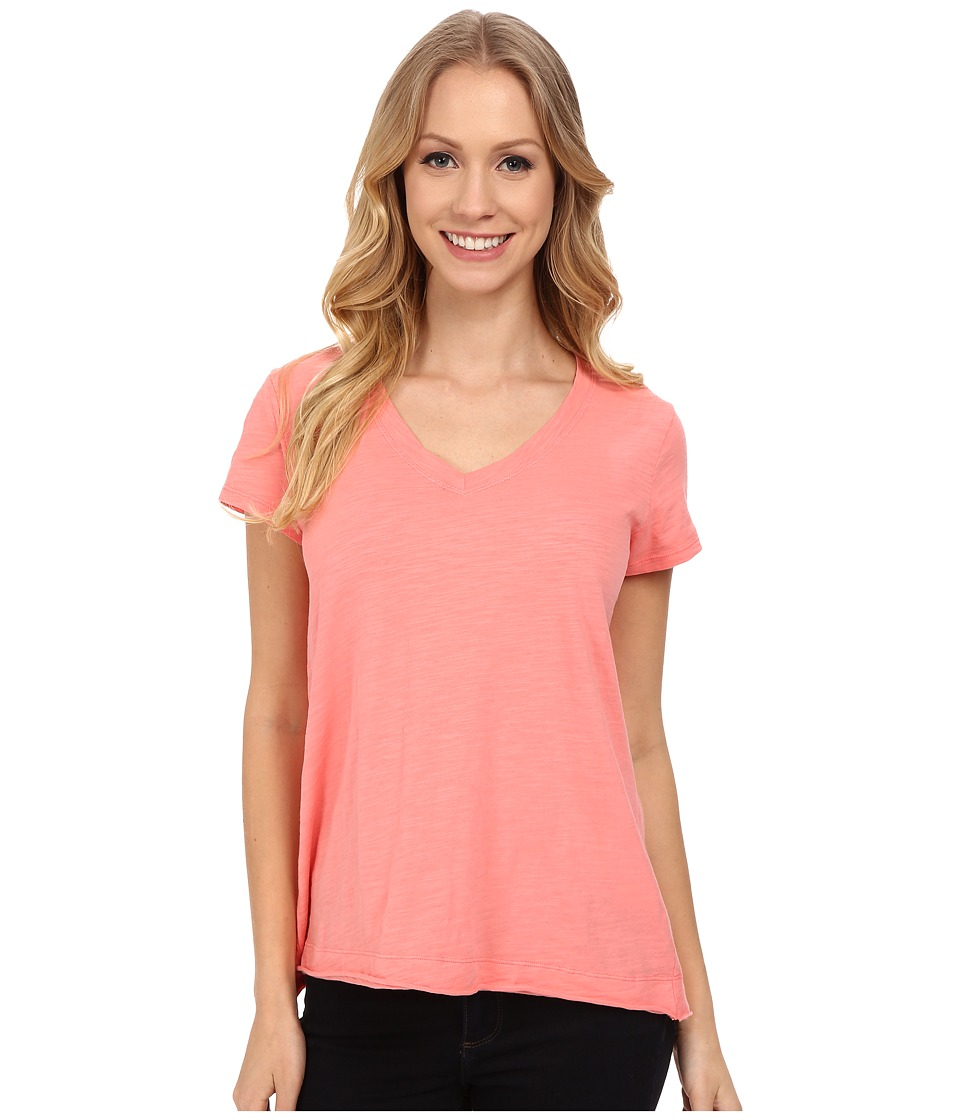 Mod-o-doc - Sueded Slub Jersey Short Sleeve V-Neck Tee (Cafe Coral) Women's T Shirt