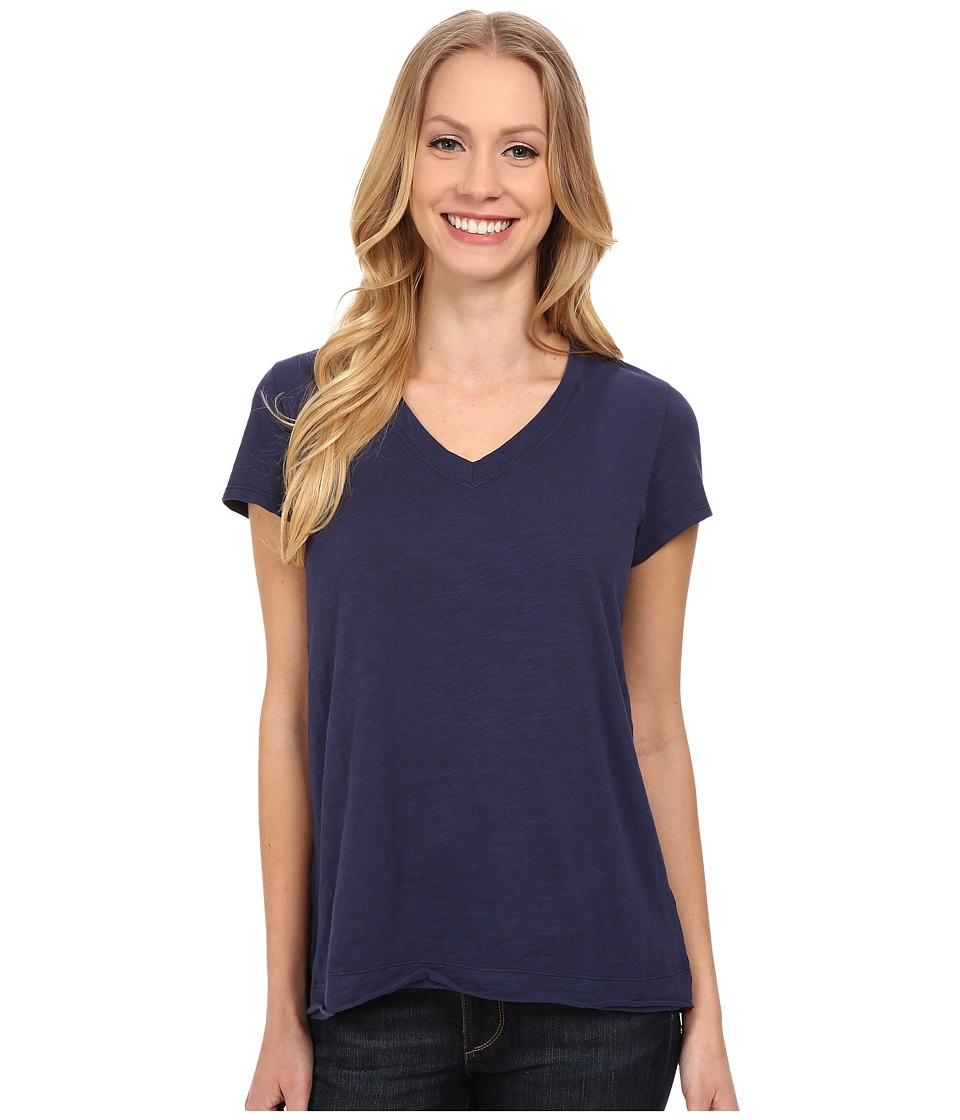 Mod-o-doc - Sueded Slub Jersey Short Sleeve V-Neck Tee (New Navy) Women's T Shirt