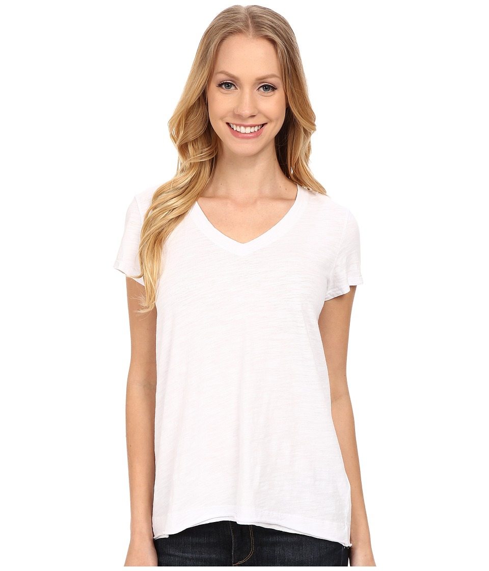 Mod-o-doc - Sueded Slub Jersey Short Sleeve V-Neck Tee (White) Women's T Shirt