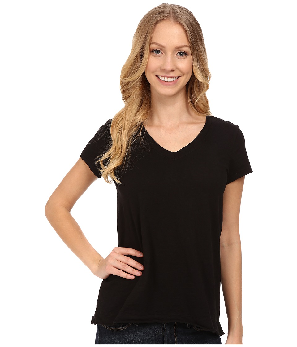 Mod-o-doc - Sueded Slub Jersey Short Sleeve V-Neck Tee (Black) Women's T Shirt