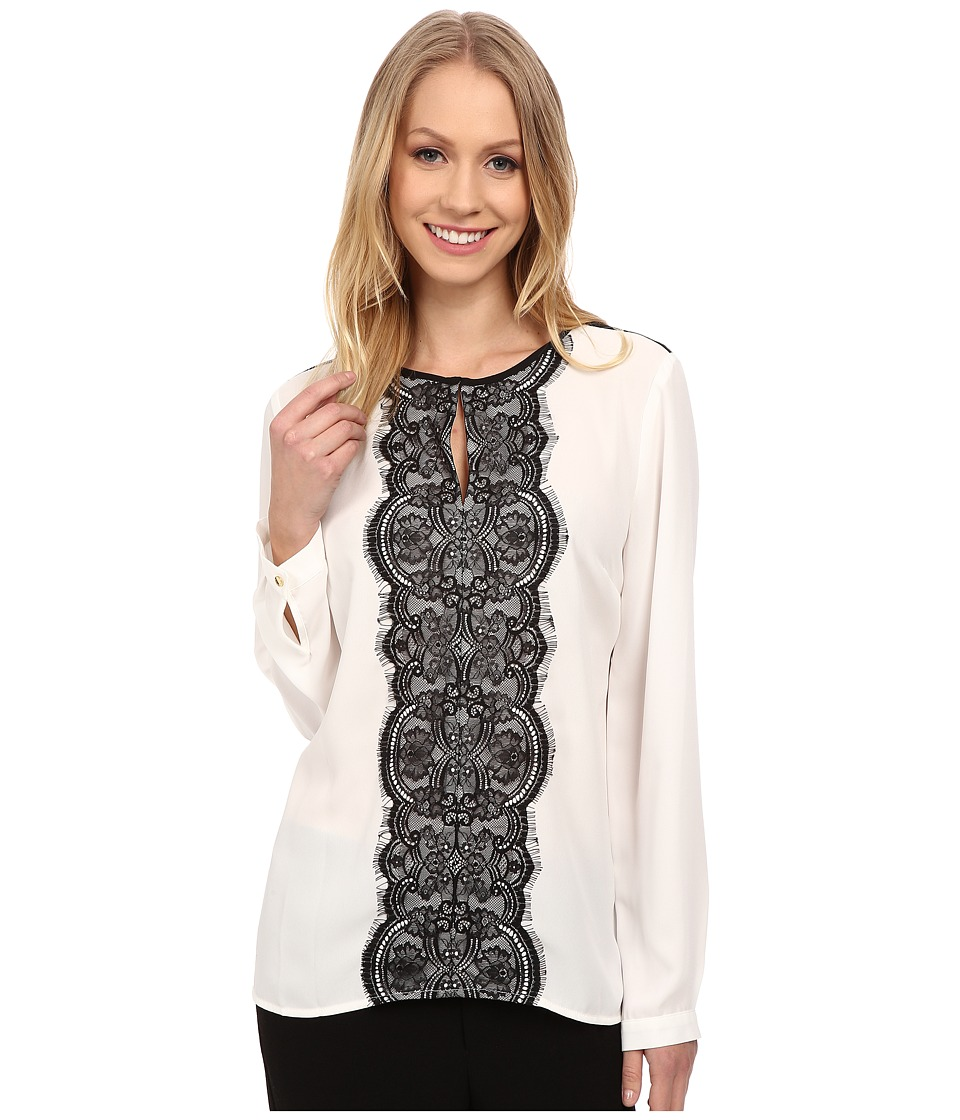 Vince Camuto - Long Sleeve Blouse w/ Front Lace Trim (New Ivory) Women's Blouse