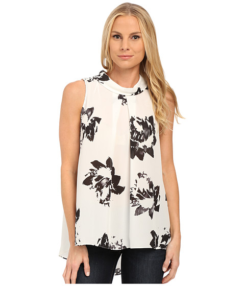 Vince Camuto - Sleeveless Invert Pleat Mock Neck Floral Blouse (New Ivory) Women