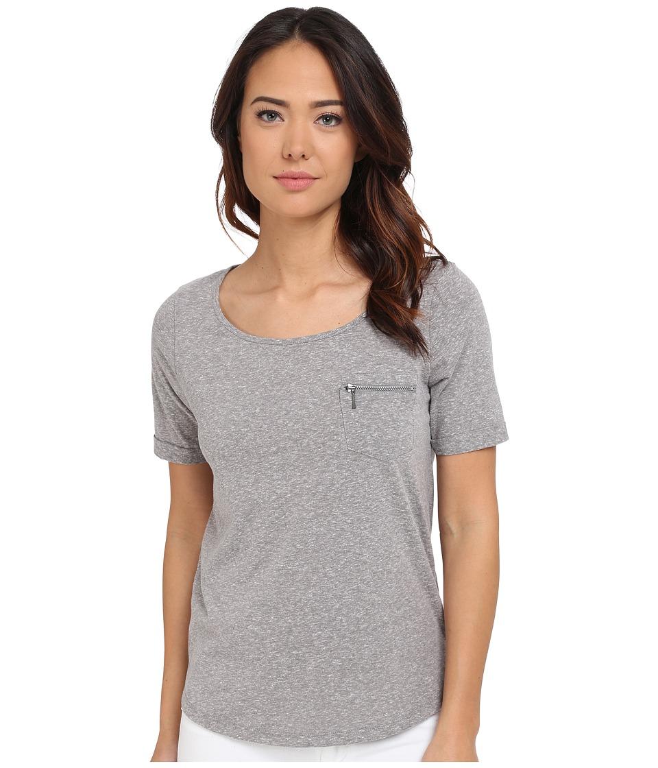 Mavi Jeans - Short Sleeve T-Shirt with Zipped Chest Pocket (Light Grey Melange) Women's Short Sleeve Pullover