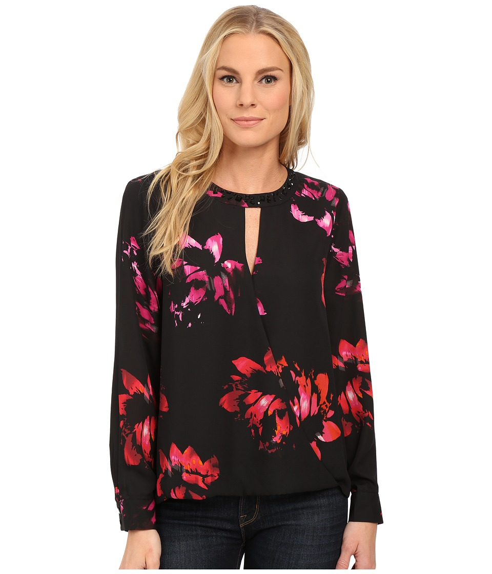 Vince Camuto - Long Sleeve Wrap Front Floral Blouse w/ Neck Embellishment (Rich Black) Women
