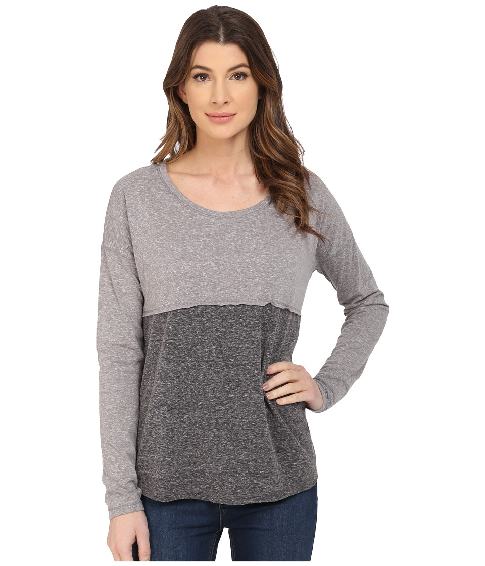 Mavi Jeans - Color Blocking Top Long Sleeve (Grey Melange) Women's Long Sleeve Pullover