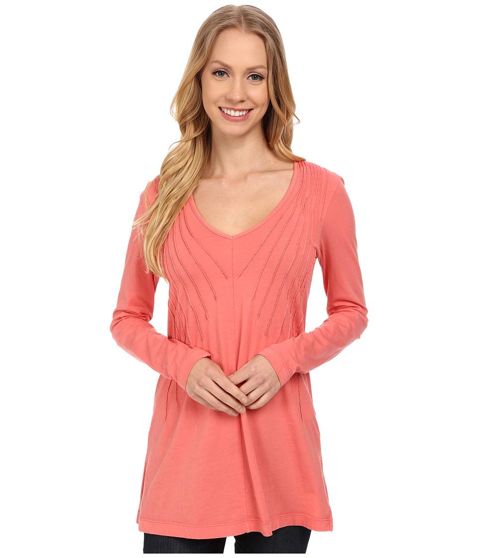 Mod-o-doc - Supreme Jersey Pintuck V-Neck Tunic (Cafe Coral) Women's T Shirt