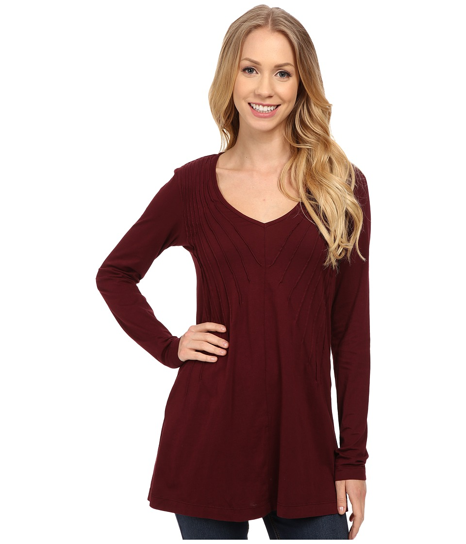 Mod-o-doc - Supreme Jersey Pintuck V-Neck Tunic (Burgundy Noir) Women's T Shirt