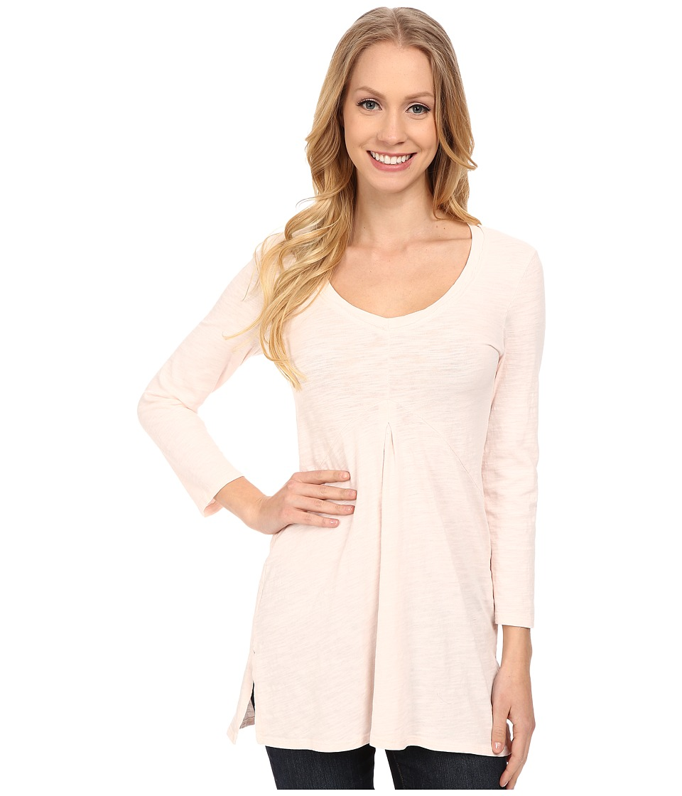 Mod-o-doc - Sueded Slub Jersey 3/4 Sleeve V-Neck Tunic w/ Pleat (Ballerina) Women's T Shirt