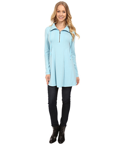 Mod-o-doc - Cotton Modal Spandex Jersey 1/4 Zip Funnel Tunic (Blue Frost) Women's T Shirt