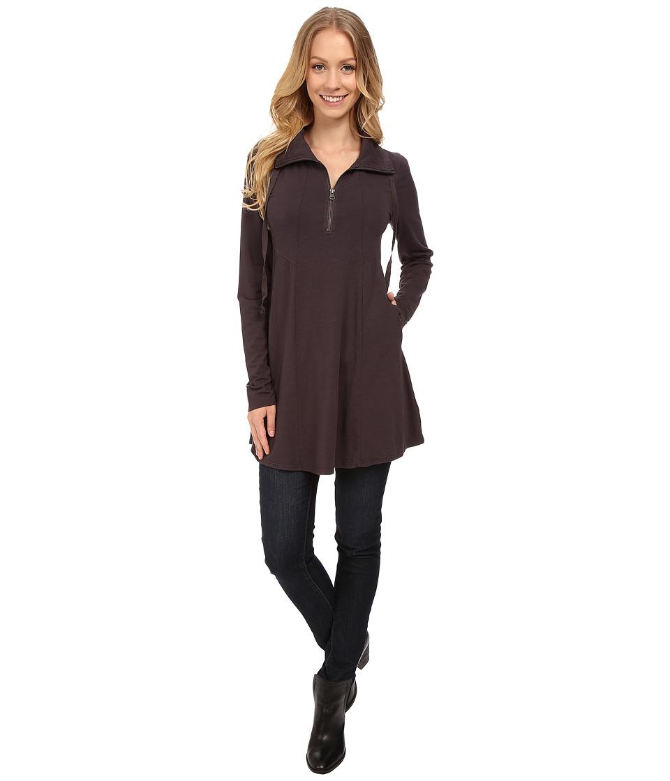 Mod-o-doc - Cotton Modal Spandex Jersey 1/4 Zip Funnel Tunic (Night Shade) Women