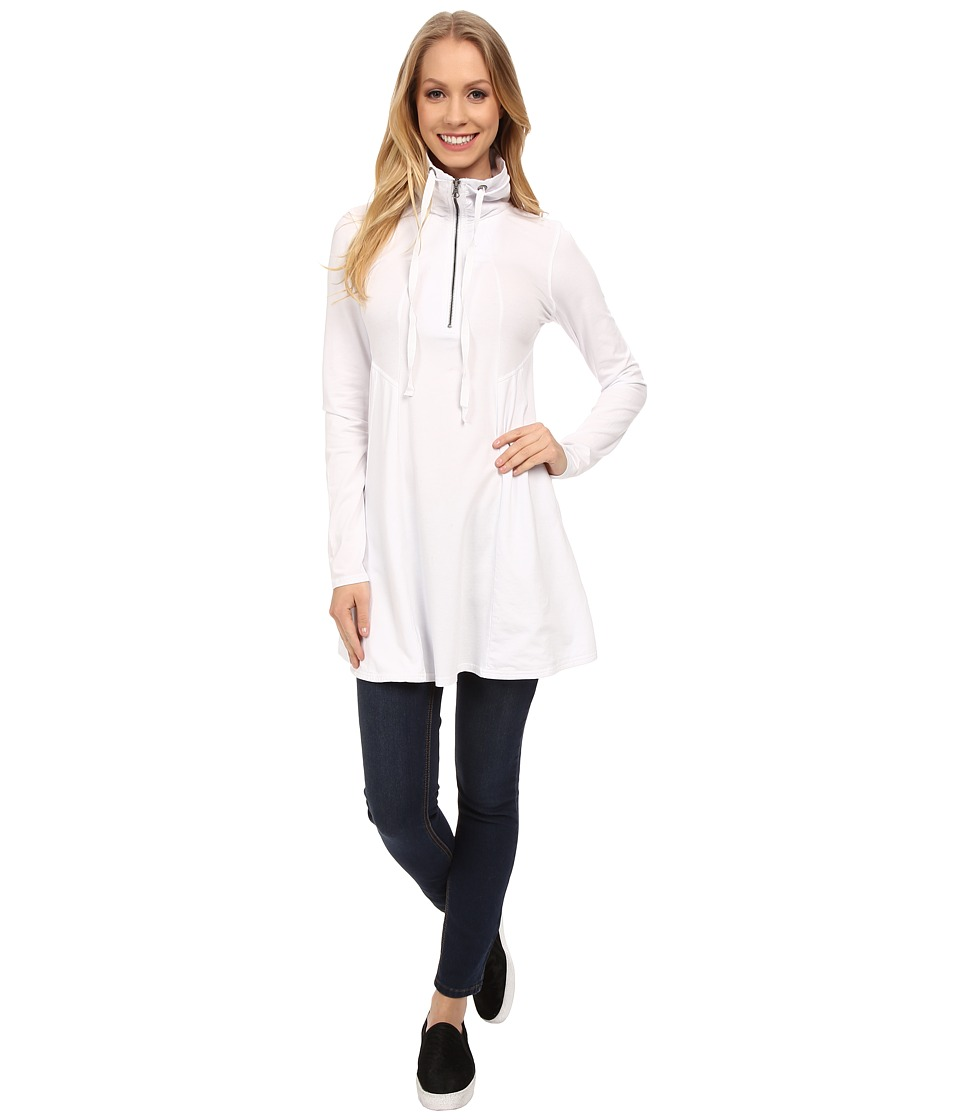 Mod-o-doc - Cotton Modal Spandex Jersey 1/4 Zip Funnel Tunic (White) Women's T Shirt