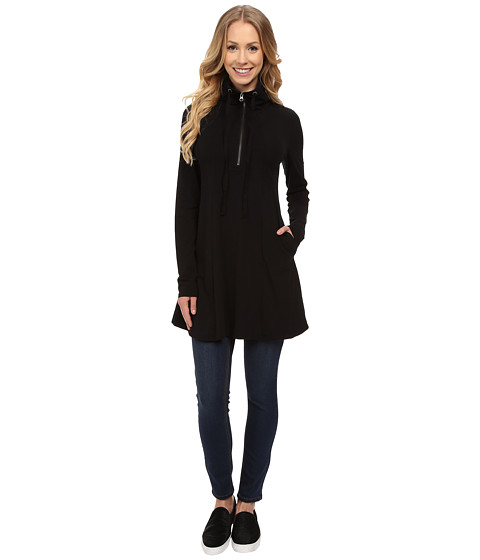 Mod-o-doc - Cotton Modal Spandex Jersey 1/4 Zip Funnel Tunic (Black) Women