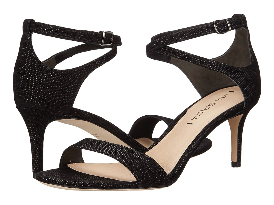 Via Spiga - Leesa (Black Dotted Suede Leather) Women's Sandals