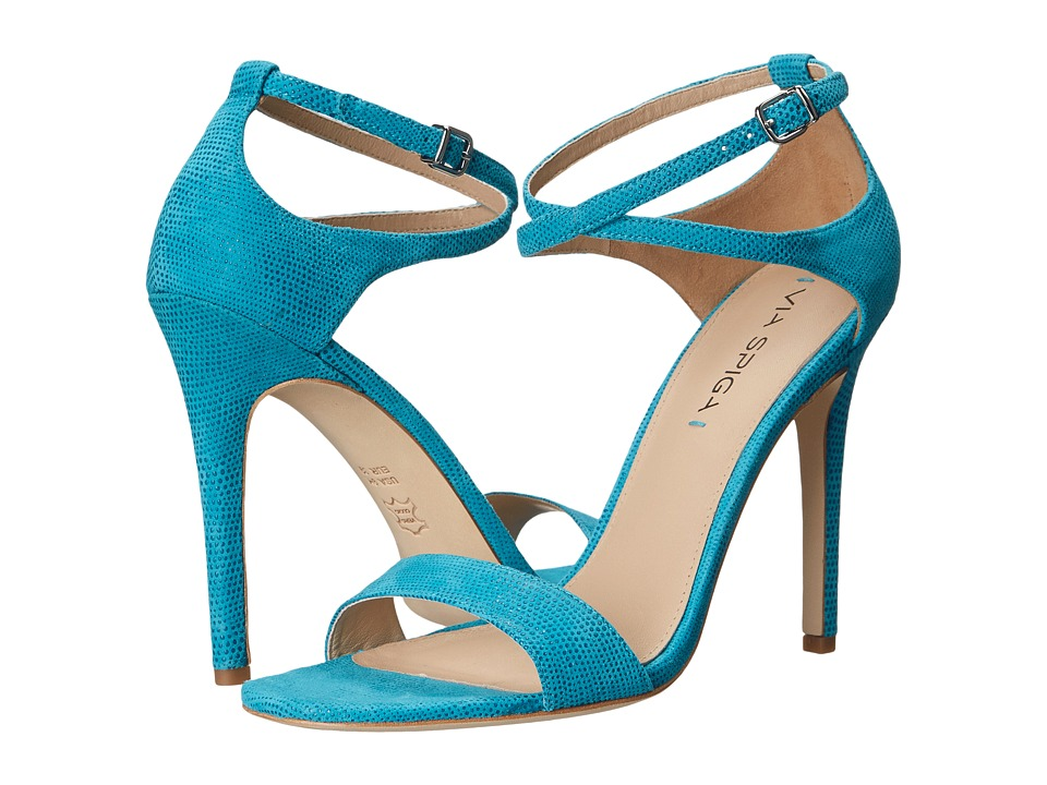 Via Spiga - Tiara (Caribbean Blue Dotted Suede Leather) High Heels