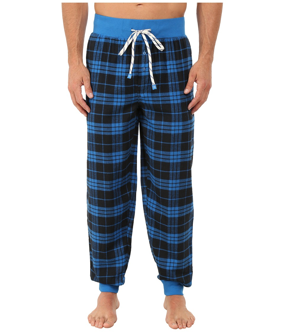 Original Penguin - Cuff Flannel Pants (Blue Park Plaid) Men