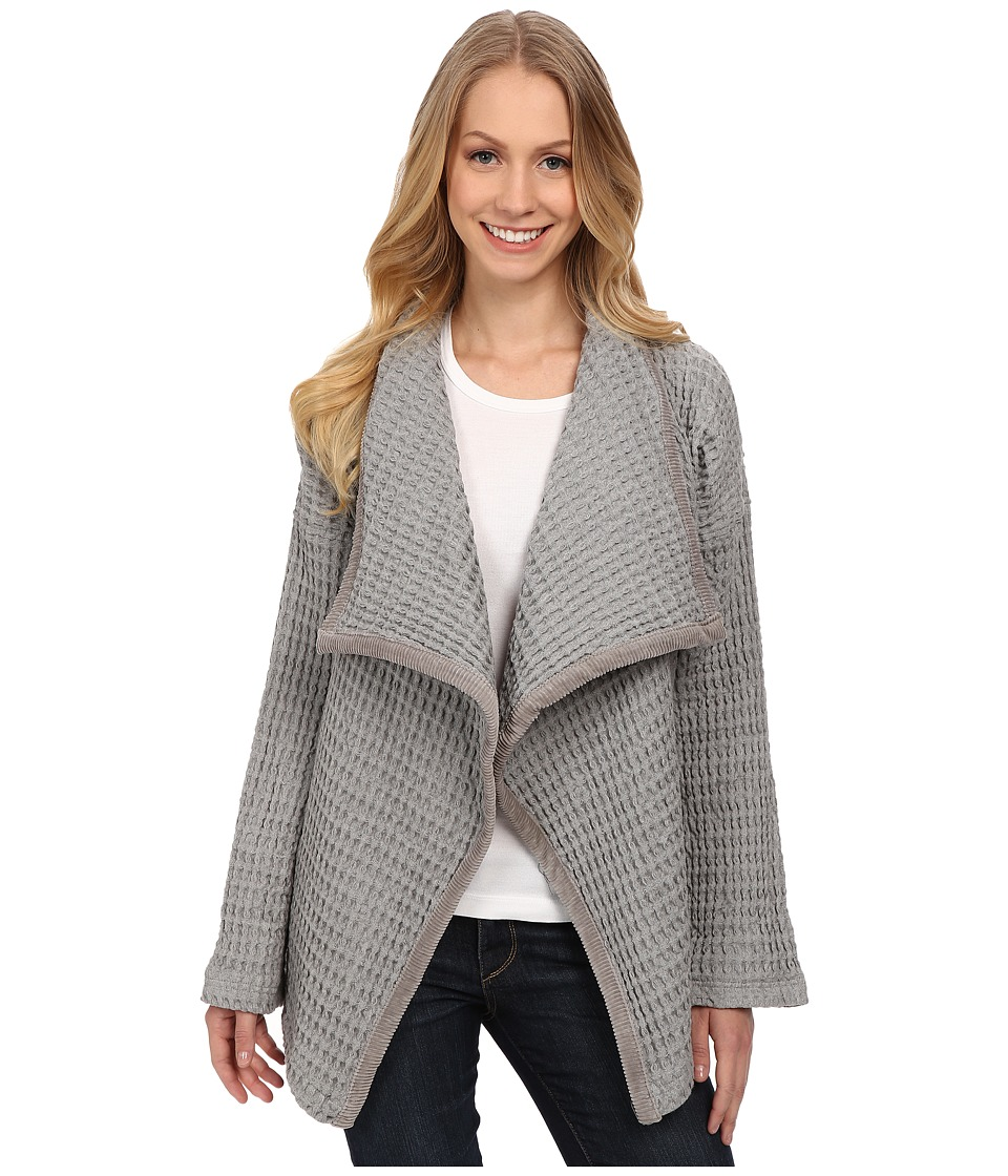 Mod-o-doc - Textured Knit Big Collar Cardigan (Smoke Heather) Women's Sweater