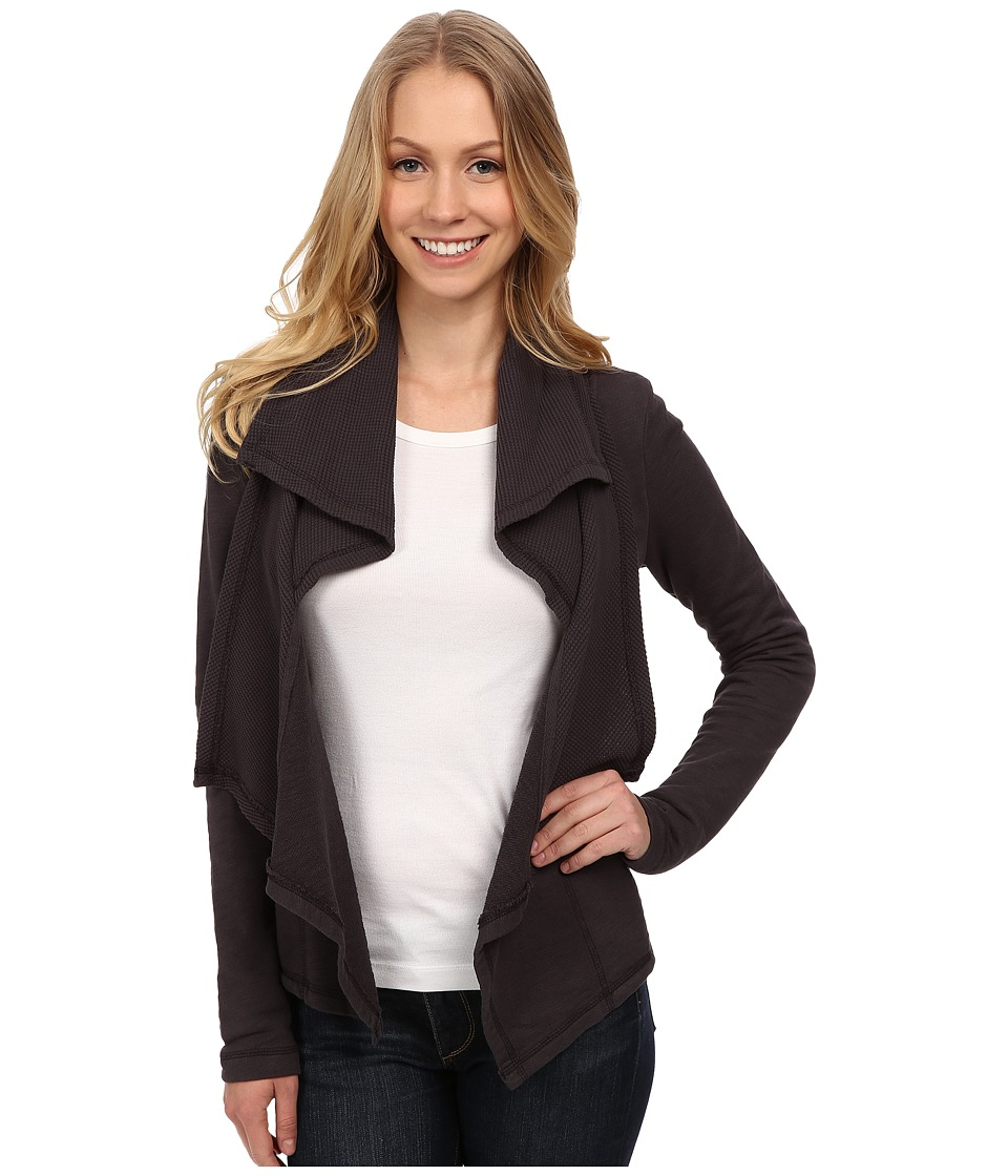 Mod-o-doc - Slub French Terry Double Drape Collar Cardigan (Night Shade) Women's Sweater
