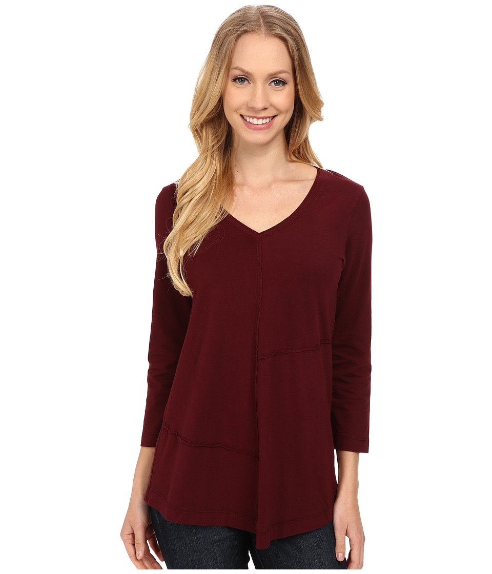 Mod-o-doc - Classic Jersey Seamed V-Neck Pullover (Burgundy Noir) Women's T Shirt