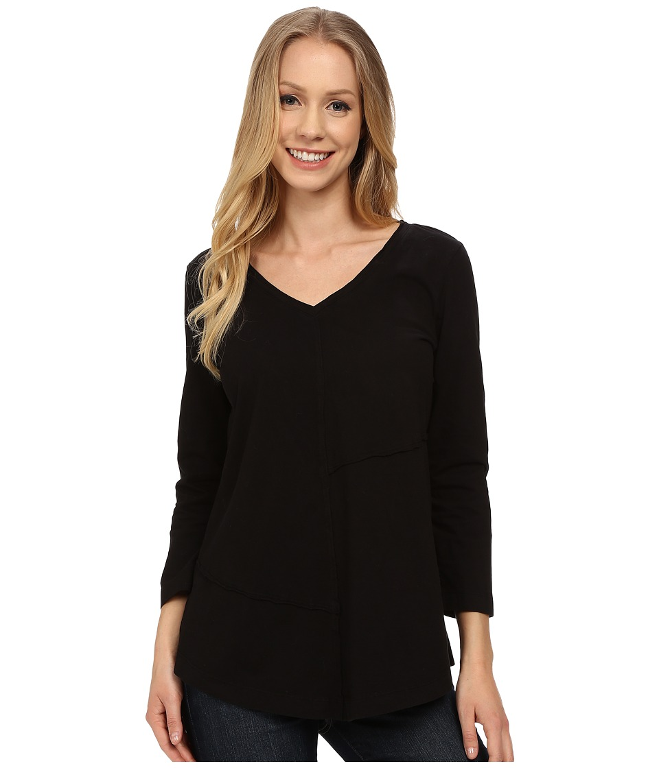 Mod-o-doc - Classic Jersey Seamed V-Neck Pullover (Black) Women's T Shirt