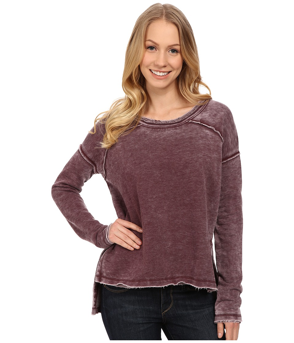 Mod-o-doc - Burnout Wash Fleece Easy Seamed Raw Edge Pullover (Burgundy Noir) Women's T Shirt