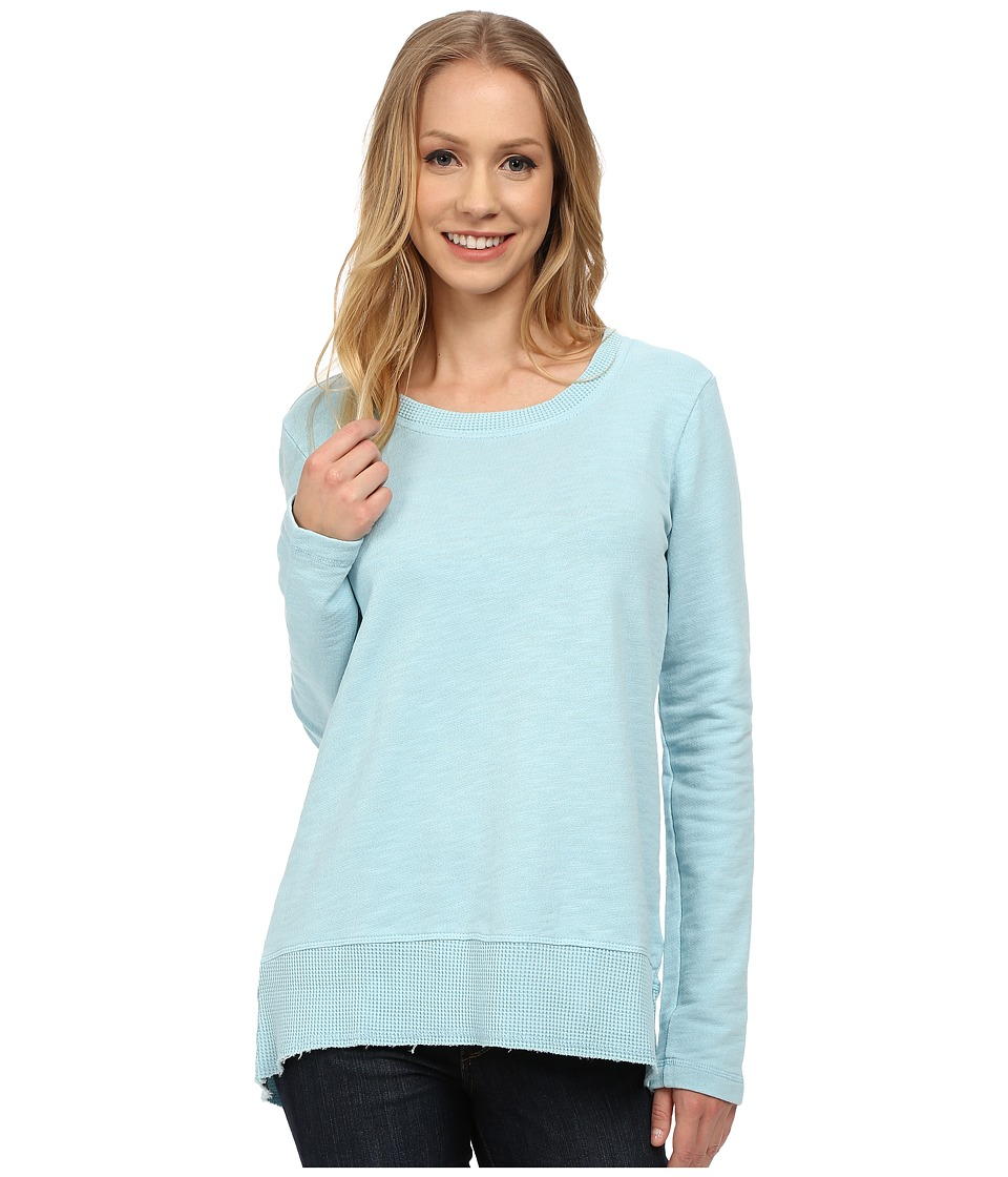 Mod-o-doc - Slub French Terry Scoop Neck Pullover w/ Thermal Banded Hem (Blue Frost) Women's Sweater