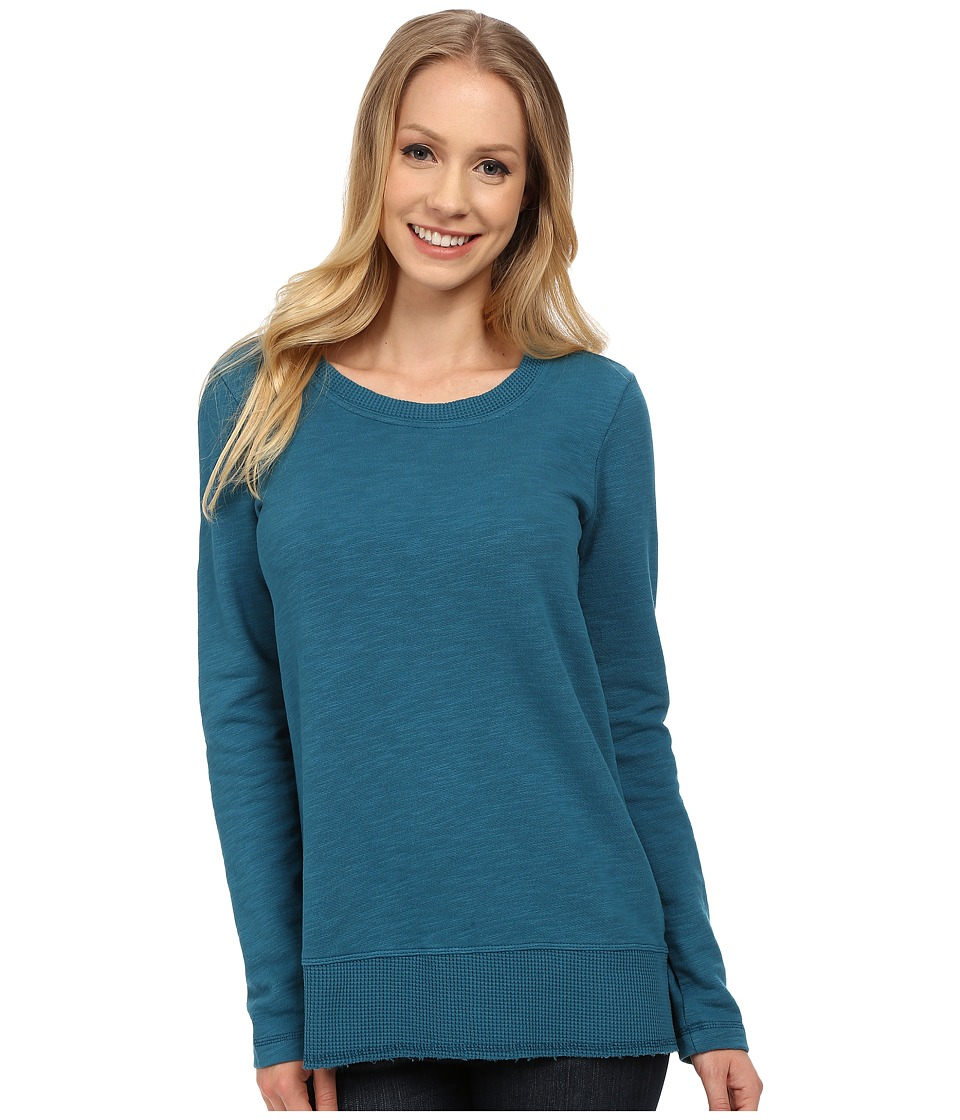 Mod-o-doc - Slub French Terry Scoop Neck Pullover w/ Thermal Banded Hem (Baltic) Women's Sweater