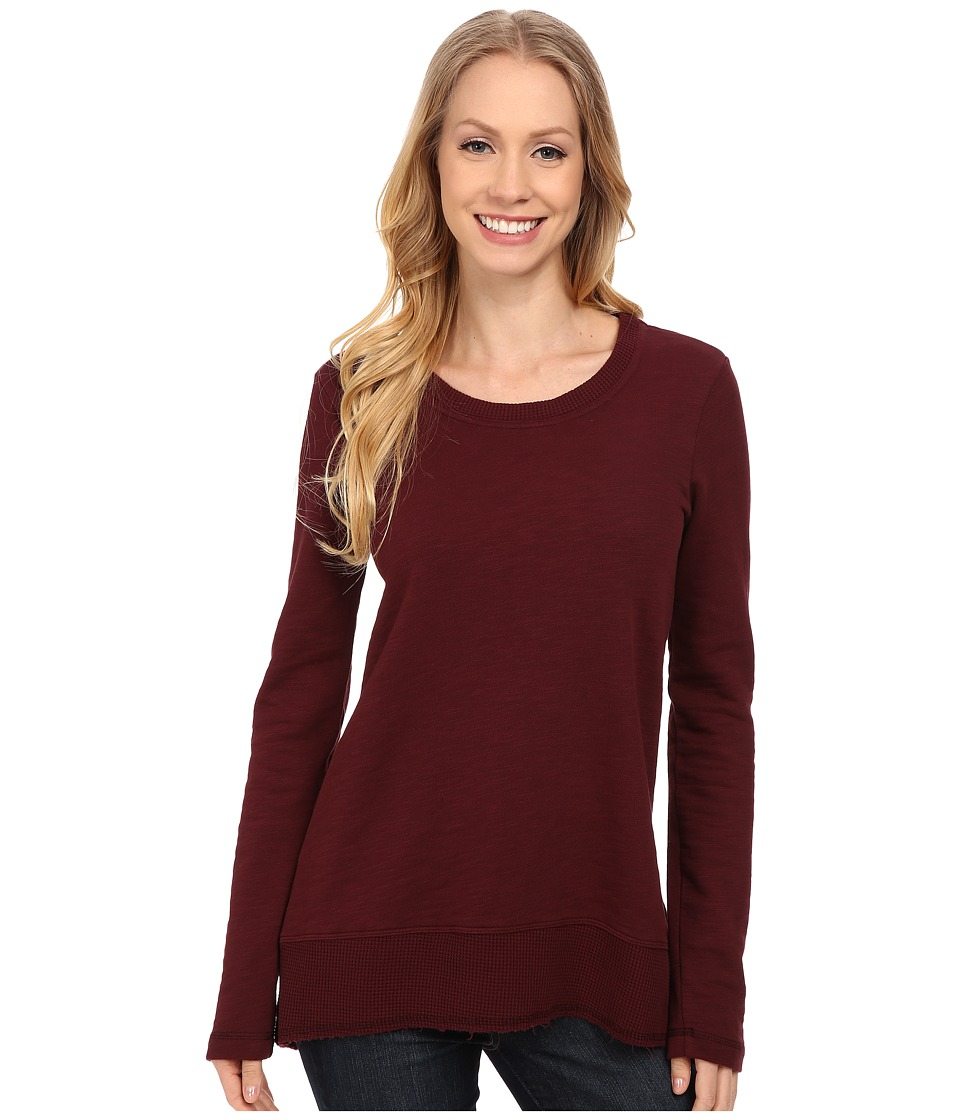 Mod-o-doc - Slub French Terry Scoop Neck Pullover w/ Thermal Banded Hem (Burgundy Noir) Women's Sweater