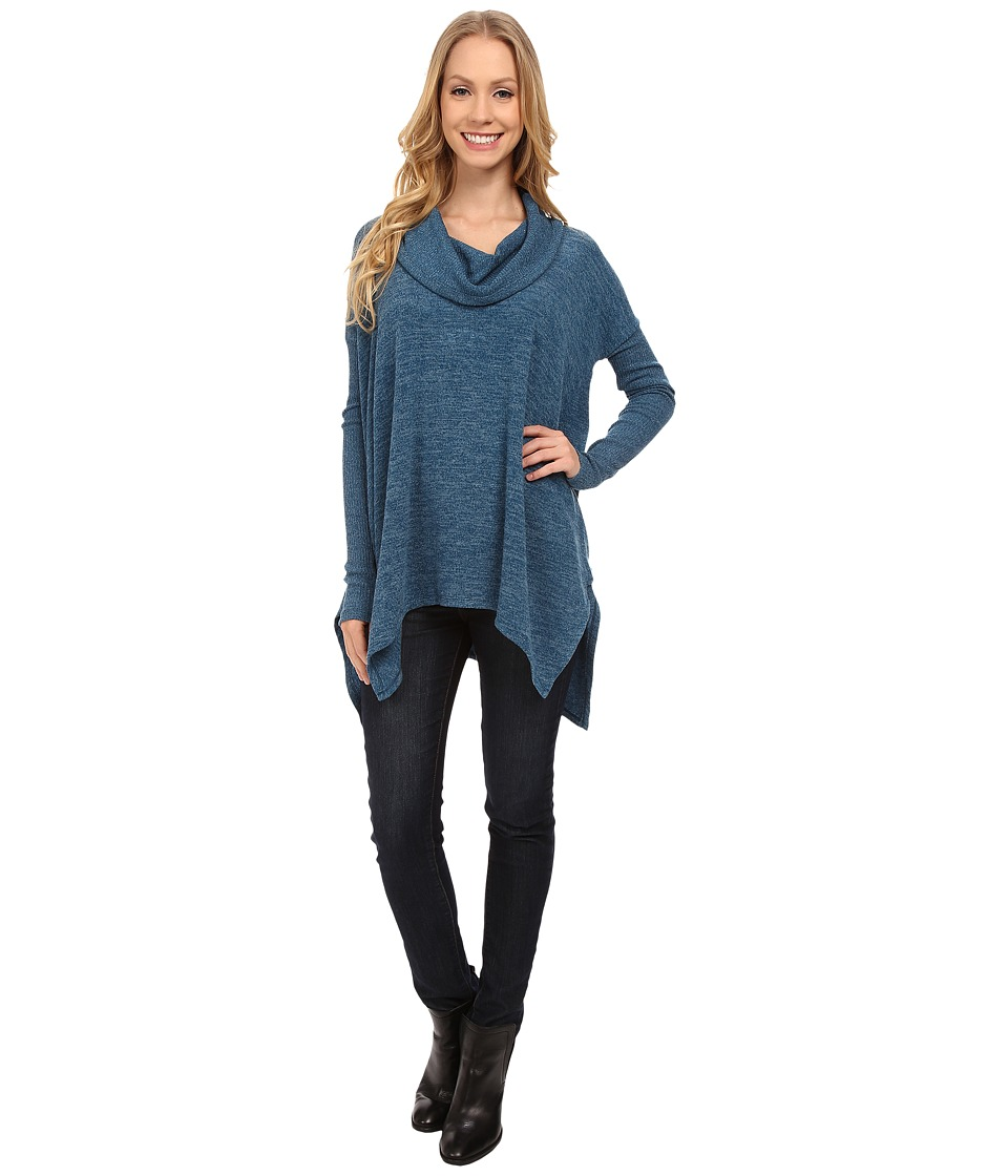 Mod-o-doc - Heather Sweater Long Sleeve Cowl Neck Pullover w/ Contrast Sleeve (Baltic) Women's Long Sleeve Pullover