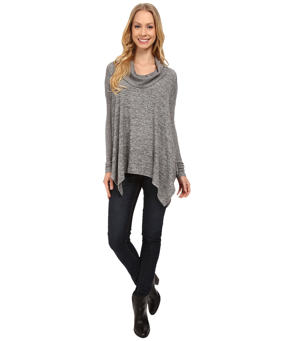 Mod-o-doc - Heather Sweater Long Sleeve Cowl Neck Pullover w/ Contrast Sleeve (Grey) Women's Long Sleeve Pullover